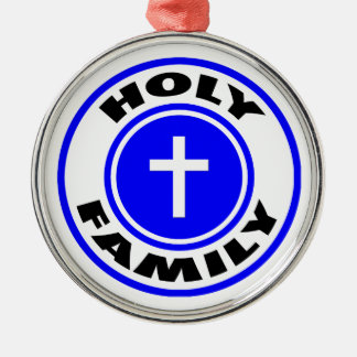 Holy Family Silver-Colored Round Decoration