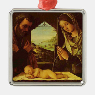 Holy Family Silver-Colored Square Decoration