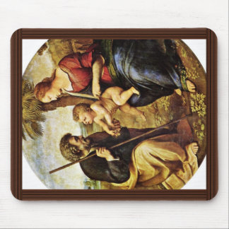 Holy Family Under A Palm Tree Tondo By Raffael Mouse Pads