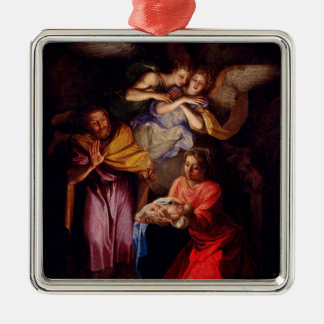 Holy Family with Angels by Coypel Silver-Colored Square Decoration