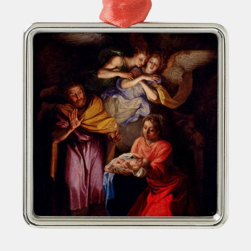 Holy Family with Angels by Coypel Christmas Ornament