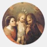 Holy Family with Cherubs by Gutierrez Round Stickers