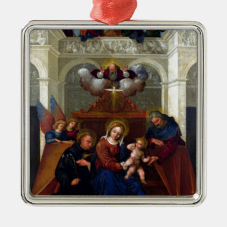 Holy Family with Saint Nicholas of Tolentino Silver-Colored Square Decoration