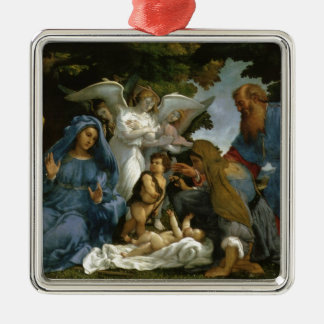 Holy Family with Saints and Angels Silver-Colored Square Decoration