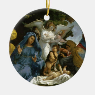 Holy Family with Saints and Angels Round Ceramic Decoration