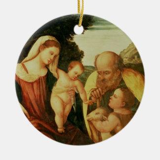 Holy Family with St. John Round Ceramic Decoration