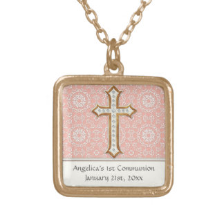 Holy First Communion Gold Golden Cross Lace Girl Gold Plated Necklace