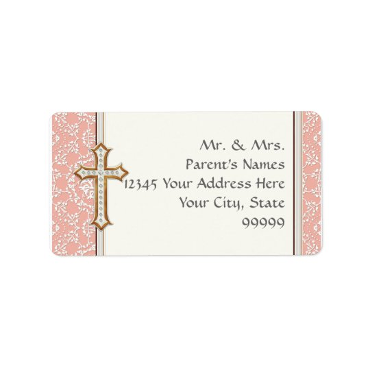 Holy First Communion Gold Golden Cross Lace Girl Label