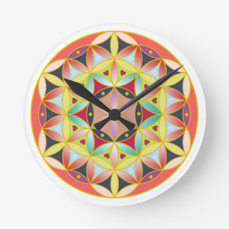 Holy geometric flower of life Wall clock