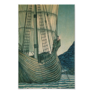 Holy Grail Sailing Ship in the Ocean Poster