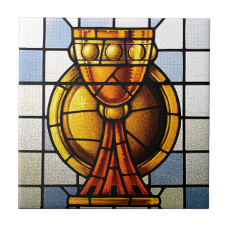 Holy Grail Stained Glass - Sacrament Small Square Tile