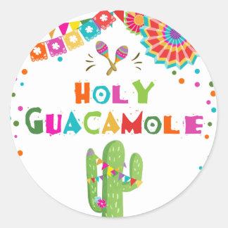 Holy Guacamole fiesta favor tag Sticker Cactus