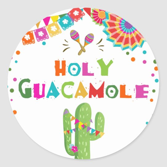 Holy Guacamole fiesta favour tag Sticker Cactus
