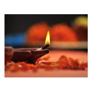 Holy lamp for Diwali festival Postcard