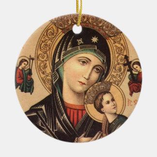Holy Mary Mother of God Round Ceramic Decoration