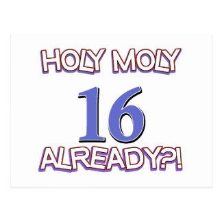 Holy Moly 16 already birthday Design Post Card
