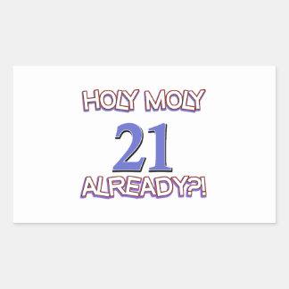 Holy Moly 21 already birthday Design Rectangle Stickers