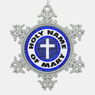 Holy Name of Mary Pewter Snowflake Decoration