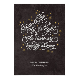 Holy Night Elegant Script Religious Greeting Card