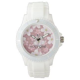 HOLY ONE Women's Sporty pink flours Silicon Watch