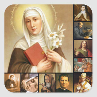 Holy Saints Collage Priests Nuns Pope Square Sticker