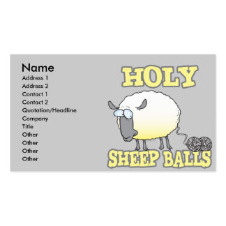 holy sheep balls funny unraveling yarn sheep business card templates