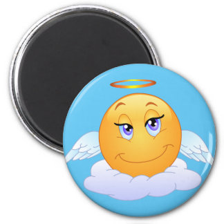 Holy smile on the cloud 6 cm round magnet