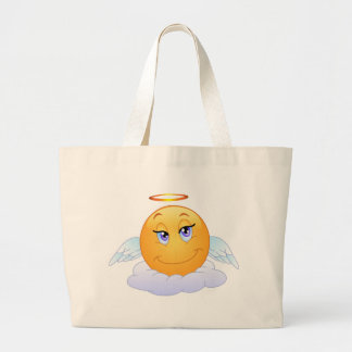 Holy smiley on the cloud large tote bag