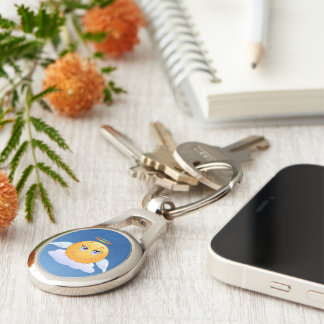 Holy smiley Silver-Colored oval key ring