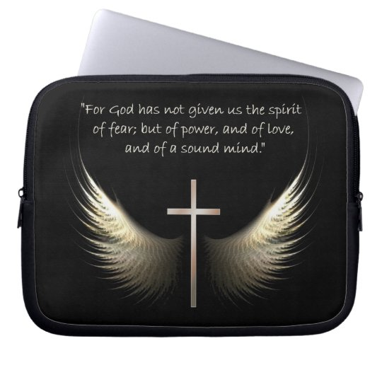 Holy Spirit and Christian Cross and Bible Verse Laptop Sleeve