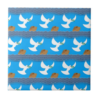 Holy spirit dove and earth abstract blue ceramic tile