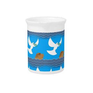 Holy spirit dove and earth abstract blue pitcher
