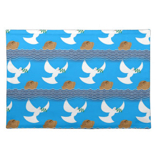Holy spirit dove and earth abstract blue placemat