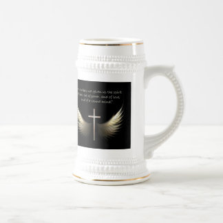 Holy Spirit Wings with Cross and Scripture Stein Coffee Mug
