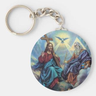 Holy Trinity Basic Round Button Key Ring