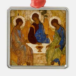 Holy Trinity Icon Rublev Byzantine Catholic Gift Metal Ornament