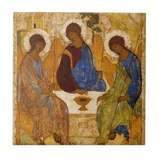 Holy Trinity Icon Rublev Byzantine Catholic Gift Small Square Tile