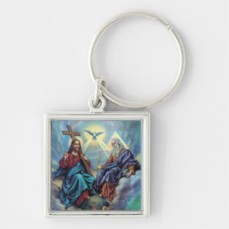 Holy Trinity Silver-Colored Square Key Ring