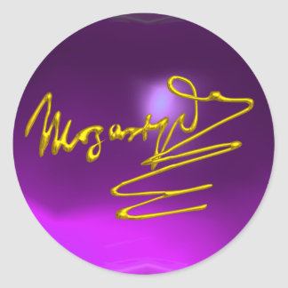 HOMAGE TO MOZART,purple amethyst Classic Round Sticker