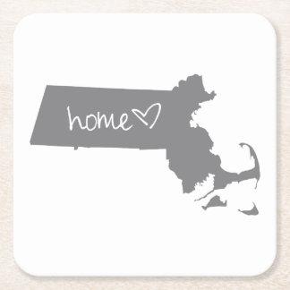Home <3 Massachusetts Square Paper Coaster