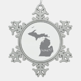 Home <3 Michigan Snowflake Pewter Christmas Ornament