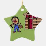 Home Builder Handyman Double-Sided Star Ceramic Christmas Ornament