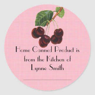 Home Canning Labels -- with Cherries Round Sticker