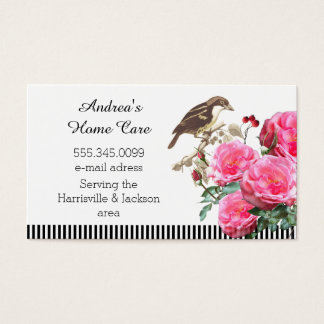 Home Care Pink Roses and Bird Business Card