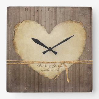 Home Decor Rustic Wood Fence Boards Heart Bridal Square Wall Clock