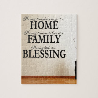 Home + Family = Blessing Jigsaw Puzzle