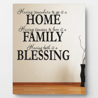 Home + Family = Blessing Photo Plaques