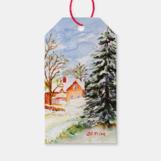 Home for Christmas Snowy Winter Scene Watercolor