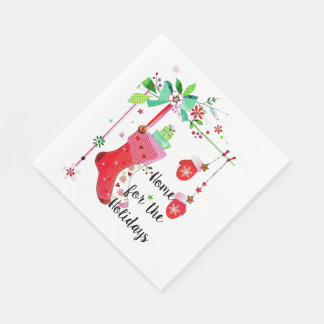 Home for the Holidays Christmas Holiday Napkins Paper Napkin