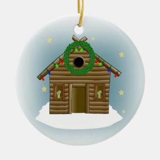 Home For The Holidays Log Cabin Christmas Ceramic Ornament